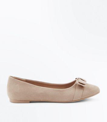 Teens Light Brown Suedette Bow Ballet Pumps New Look