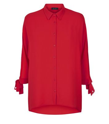 Red Tie Batwing Sleeve Shirt New Look