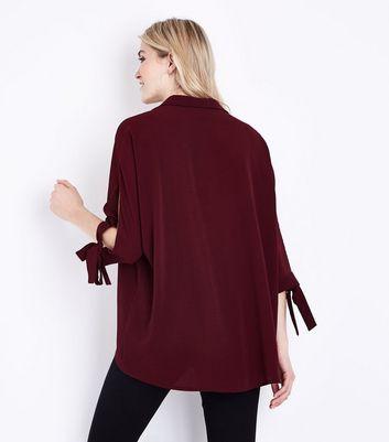 Burgundy Tie Batwing Sleeve Shirt New Look