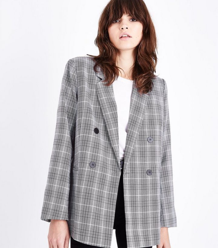 85b827ab Cameo Rose Light Grey Price of Wales Check Double Breasted Blazer ...