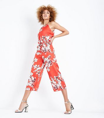 Cameo Rose Red Floral Satin High Neck Jumpsuit New Look
