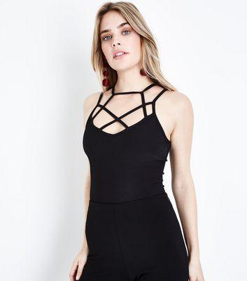 Black Caged Strap Bodysuit New Look