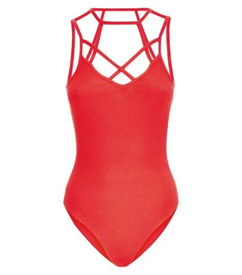 Red Caged Strap Bodysuit New Look
