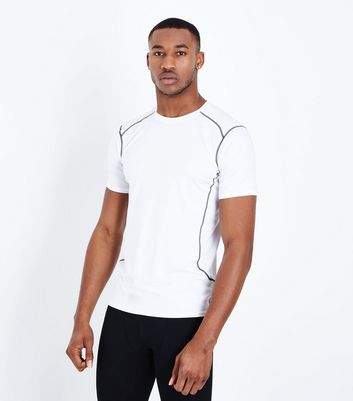White Stretch Short Sleeve Sports T-Shirt