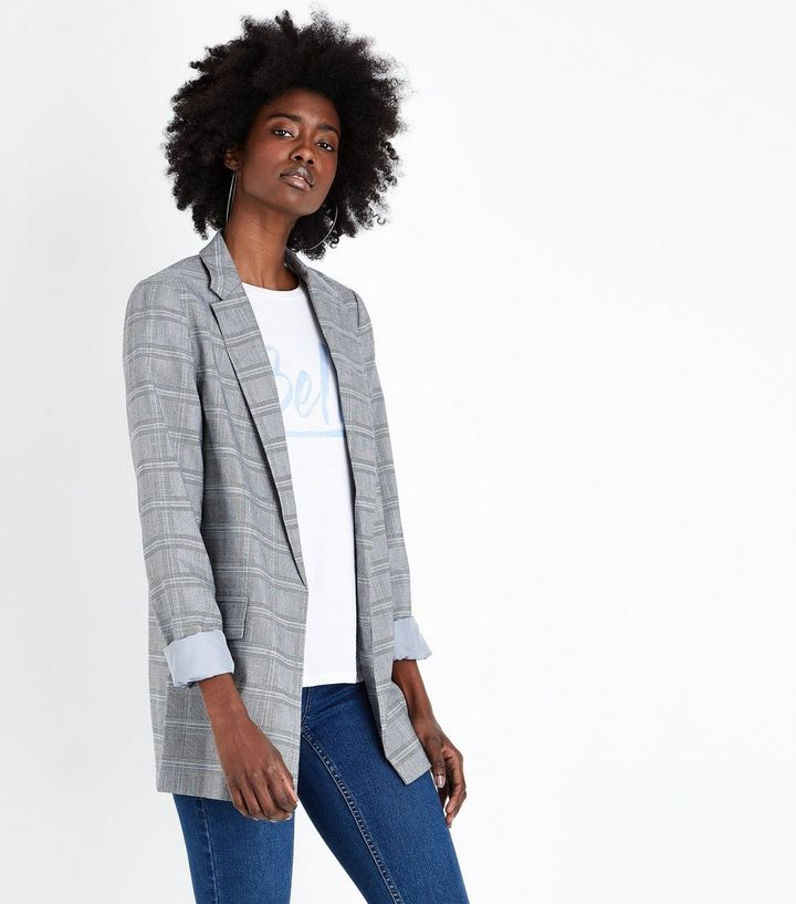 Tall – Grauer, lang geschnittener Blazer mit Karomuster   New Look fa750ae878