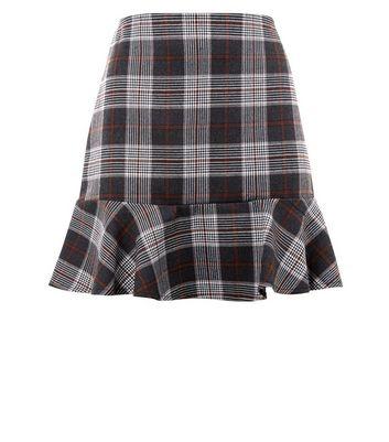 Parisian Brown Check Print Peplum Hem Skirt New Look