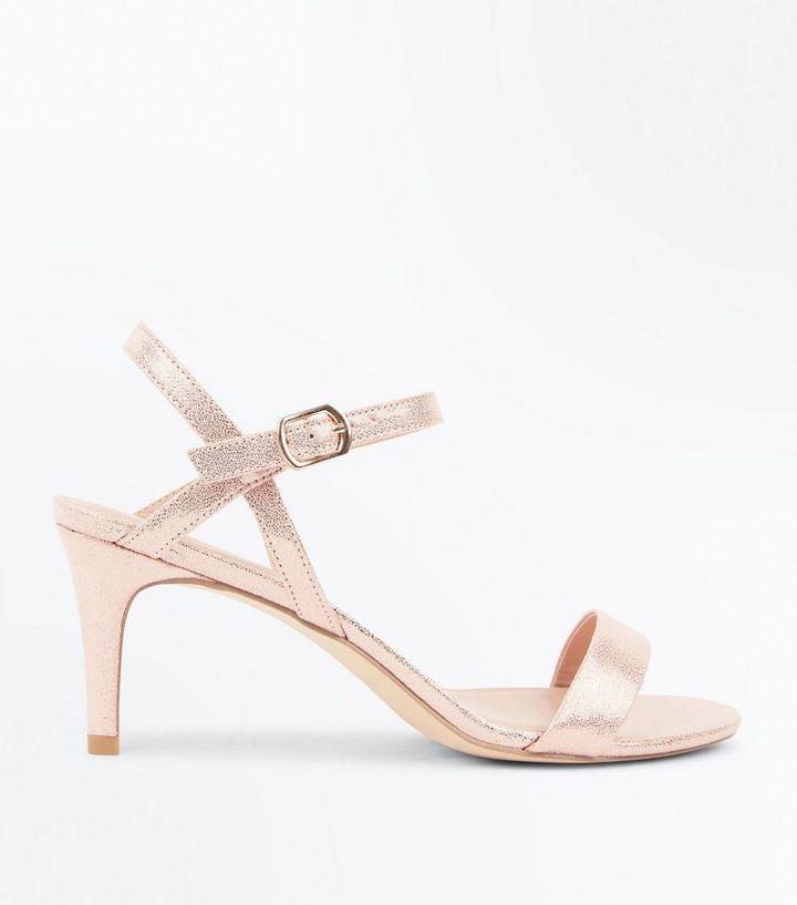 Rose Gold Metallic Kitten Heel Sandals  7e9d406f2