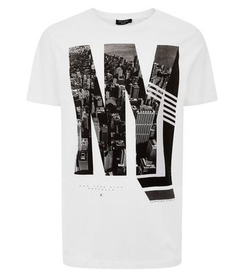 White NY Print T-Shirt New Look