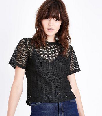Black Ribbed Collar Crochet Mesh T-Shirt New Look