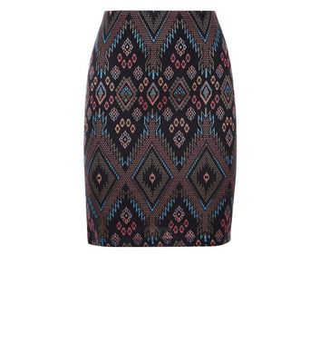 Tall Black Aztec Jersey Tube Skirt New Look