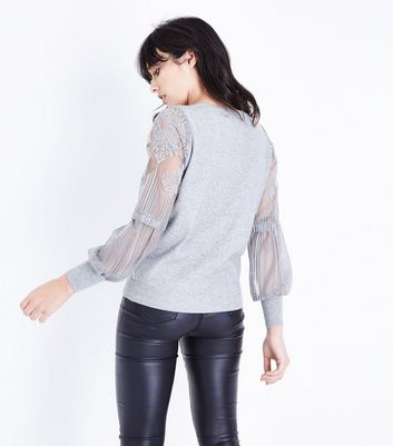 Tall Grey Lace Balloon Sleeve Jumper New Look