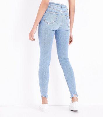 Tall Pale Blue Ripped Hem Skinny Jeans New Look