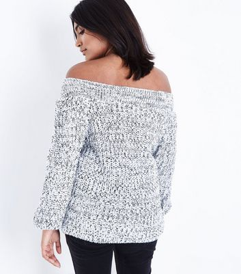 Petite Grey Marl Bardot Neck Jumper New Look