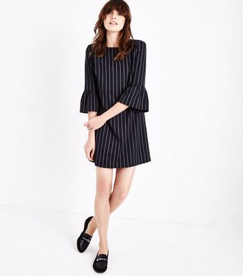 Black Pinstripe Bell Sleeve Tunic Dress New Look