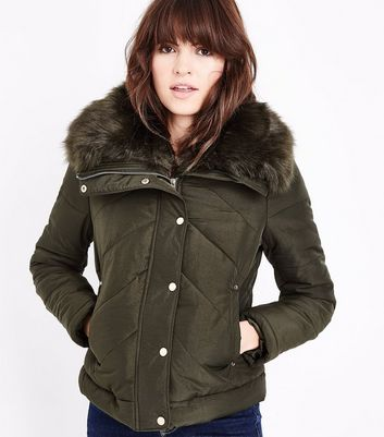 Khaki Fur Collar Chevron Puffer Jacket New Look