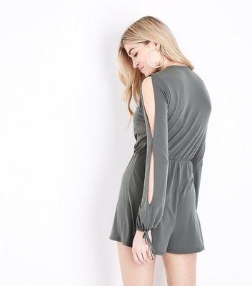 Khaki Wrap Front Split Sleeve Playsuit New Look
