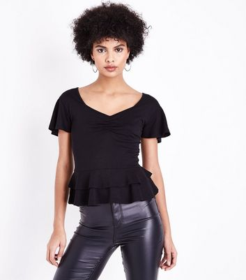 Black Ruched Front Peplum Hem Top New Look