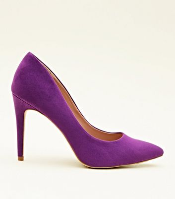 Purple Suedette Pointed Court Shoes