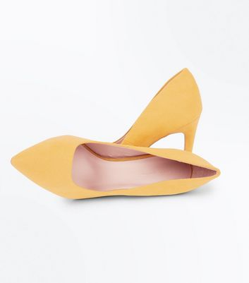 Mustard Yellow Suedette Pointed Court Shoes New Look