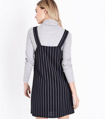 Black Pinstripe Pinafore Dress New Look