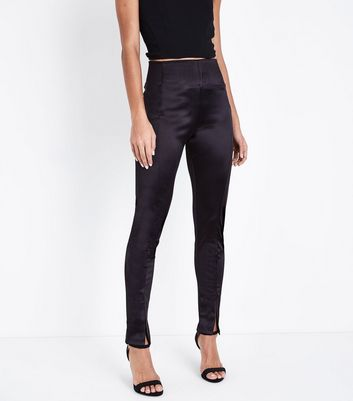 Cameo Rose Black Satin Leggings New Look