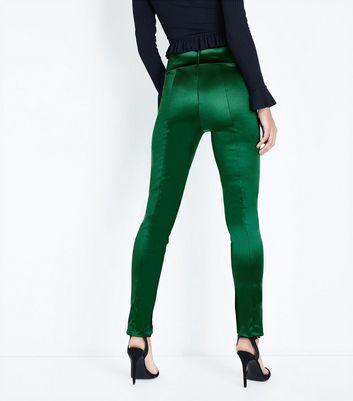 Cameo Rose Green Satin Split Hem Leggings New Look