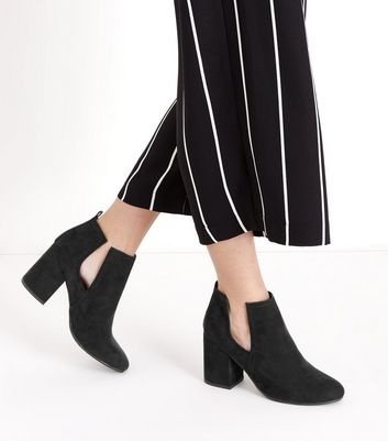 Black Suedette Cut Out Block Heel Boots New Look