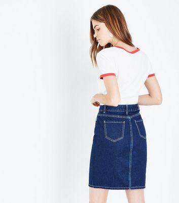 Blue Rinse Wash Zip Front Denim Midi Skirt New Look