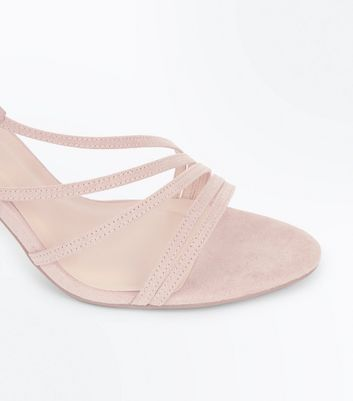 Wide Fit Nude Suedette Asymmetric Strappy Sandals New Look