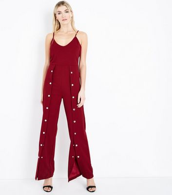 Cameo Rose Burgundy Popper Front Jumpsuit New Look