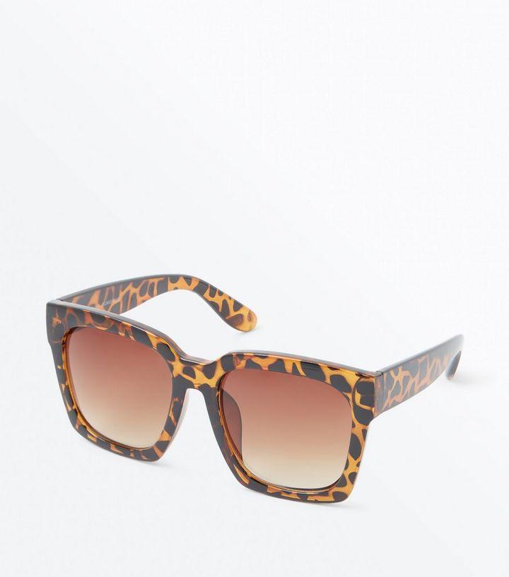 36c265e8f0d Dark Brown Faux Tortoiseshell Square Frame Sunglasses