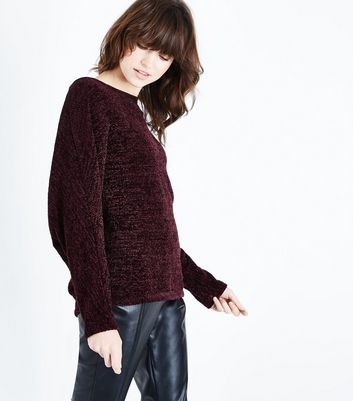 Burgundy Chenille Batwing Jumper New Look