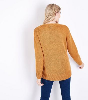 Mustard Yellow V Neck Longline Jumper New Look