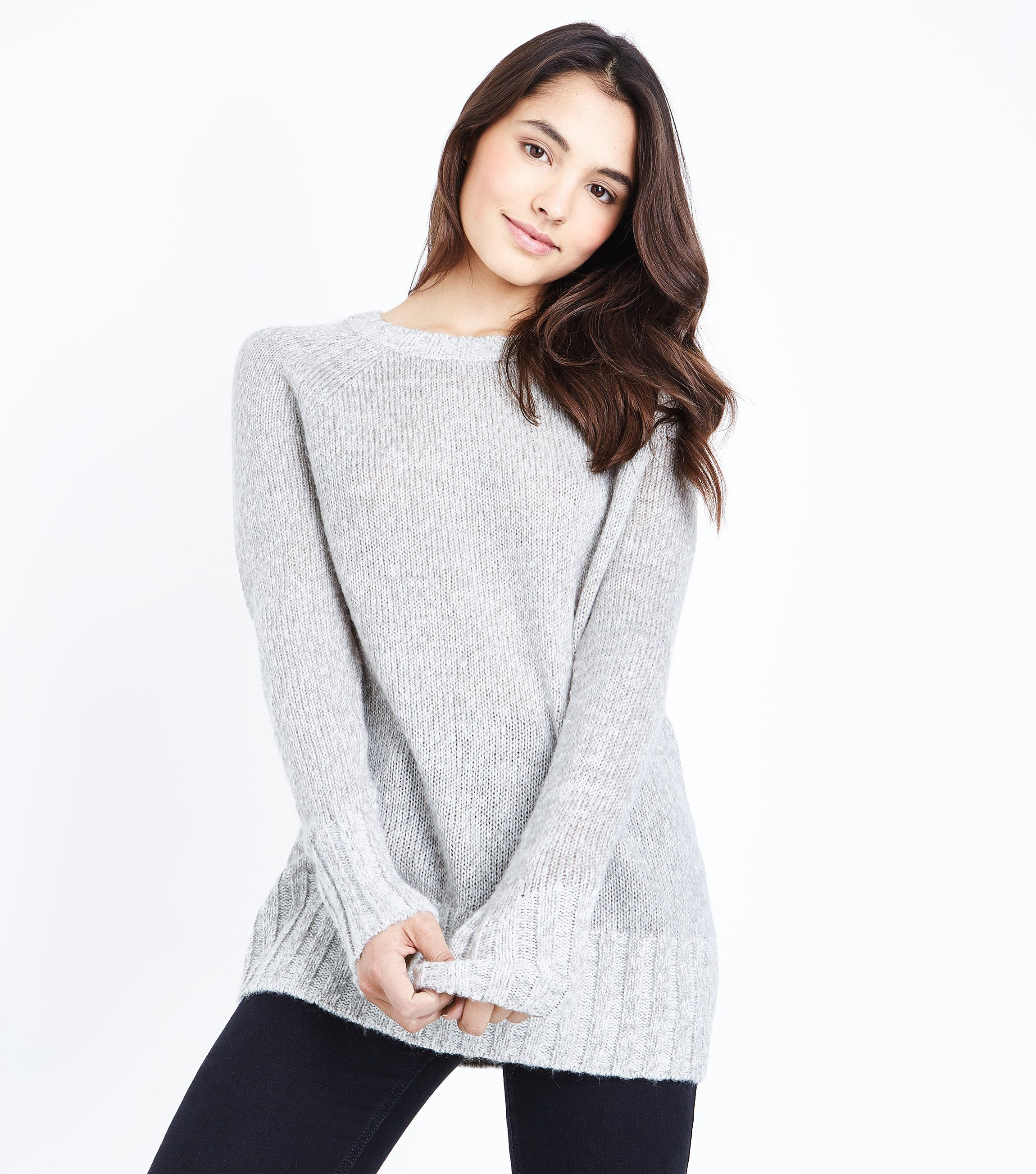 Pale Grey Longline Raglan Jumper