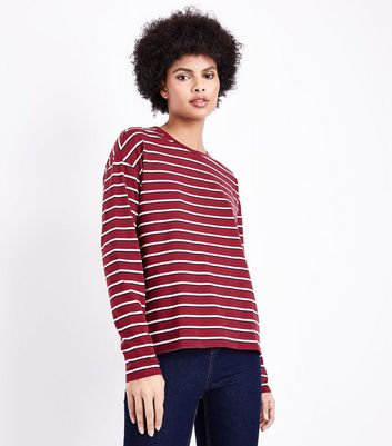 Red Stripe Long Sleeve T-Shirt New Look