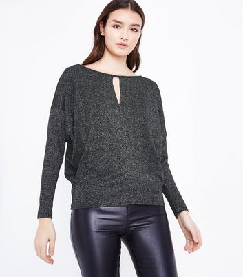 Silver Cut Out Batwing Sleeve Top New Look