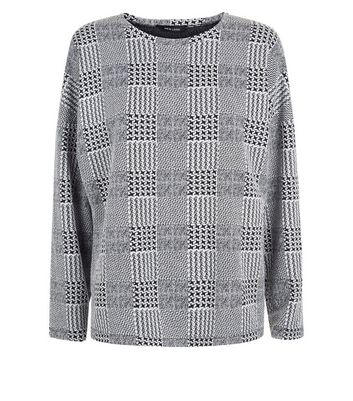 Grey Check Long Sleeve Top New Look