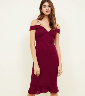 AX Paris Burgundy Off the Shoulder Fishtail Dress