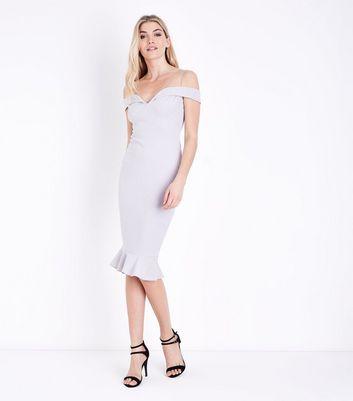 AX Paris Silver Sweetheart Neck Frill Hem Dress New Look