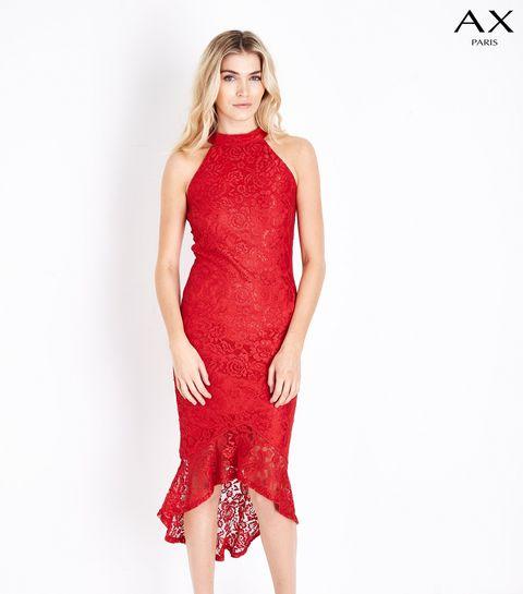 c19b23c255 ... AX Paris Red Fishtail Lace Dress ...