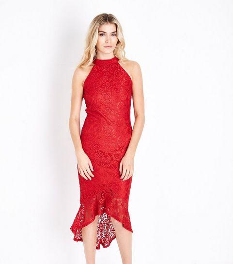 ac4c4e525ba ... AX Paris Red Fishtail Lace Dress ...