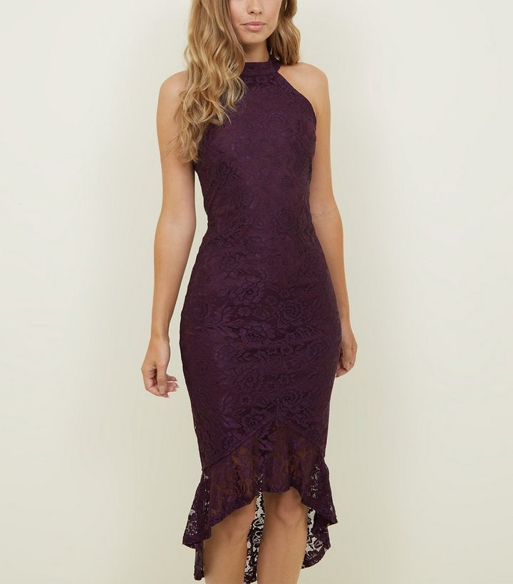 2668074fdff64 AX Paris Burgundy Fishtail Lace Dress