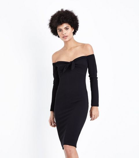 94595784a78 ... AX Paris Black Tie Front Bardot Neck Dress ...