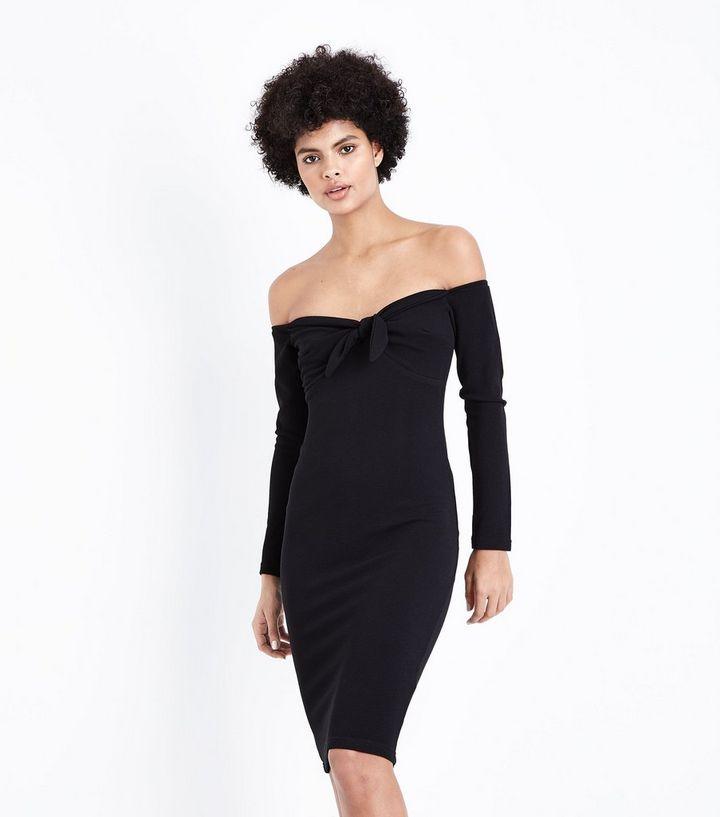 72d22b1591d0 AX Paris Black Tie Front Bardot Neck Dress