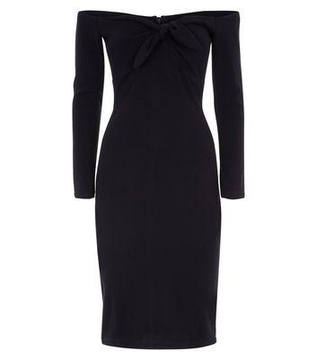 AX Paris Black Tie Front Bardot Neck Dress New Look
