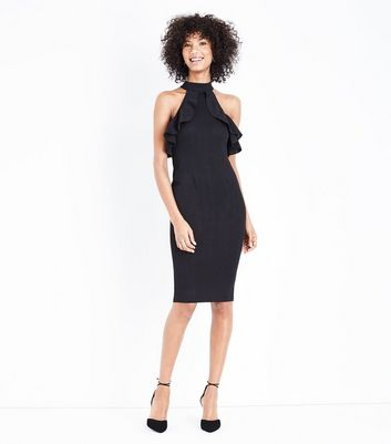 AX Paris Black Frill Halterneck Midi Dress New Look