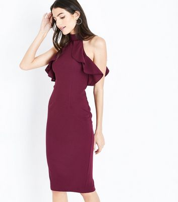 AX Paris Dark Purple Frill Halterneck Midi Dress New Look