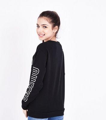 Teens Black NYC Queens Bronx Slogan Sweatshirt New Look