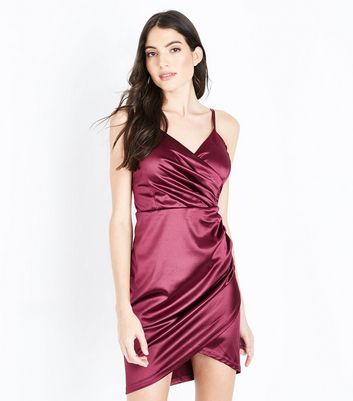 AX Paris Plum Satin Wrap Front Bodycon Dress New Look