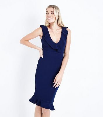 AX Paris Navy V-Neck Frill Front Midi Dress